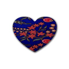 Batik  Fabric Rubber Coaster (heart)  by BangZart