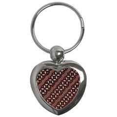 Art Traditional Batik Pattern Key Chains (heart)  by BangZart