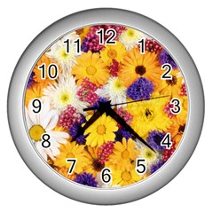Colorful Flowers Pattern Wall Clocks (silver)  by BangZart