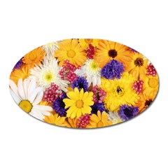 Colorful Flowers Pattern Oval Magnet by BangZart