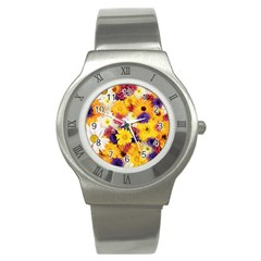 Colorful Flowers Pattern Stainless Steel Watch by BangZart