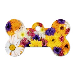Colorful Flowers Pattern Dog Tag Bone (two Sides) by BangZart