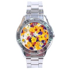 Colorful Flowers Pattern Stainless Steel Analogue Watch by BangZart