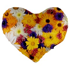 Colorful Flowers Pattern Large 19  Premium Heart Shape Cushions by BangZart