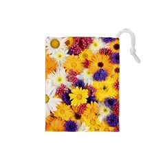 Colorful Flowers Pattern Drawstring Pouches (small)  by BangZart