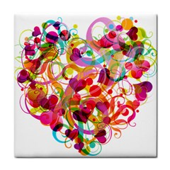 Abstract Colorful Heart Tile Coasters by BangZart