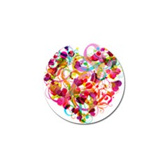 Abstract Colorful Heart Golf Ball Marker by BangZart