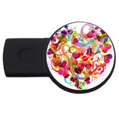 Abstract Colorful Heart Usb Flash Drive Round (2 Gb) by BangZart
