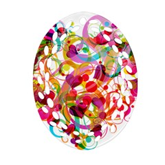 Abstract Colorful Heart Oval Filigree Ornament (two Sides) by BangZart