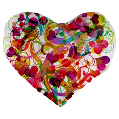 Abstract Colorful Heart Large 19  Premium Heart Shape Cushions by BangZart