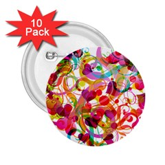 Abstract Colorful Heart 2 25  Buttons (10 Pack)  by BangZart