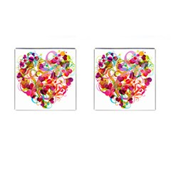 Abstract Colorful Heart Cufflinks (square)