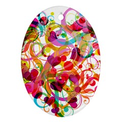 Abstract Colorful Heart Oval Ornament (two Sides) by BangZart