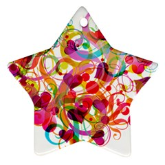 Abstract Colorful Heart Star Ornament (two Sides) by BangZart