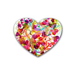 Abstract Colorful Heart Heart Coaster (4 Pack)  by BangZart