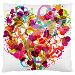 Abstract Colorful Heart Large Flano Cushion Case (two Sides) by BangZart