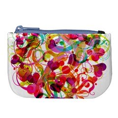 Abstract Colorful Heart Large Coin Purse by BangZart