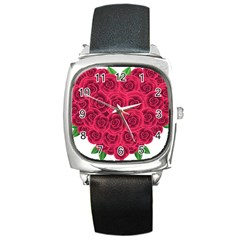 Floral Heart Square Metal Watch by BangZart