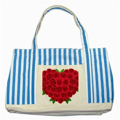 Floral Heart Striped Blue Tote Bag by BangZart