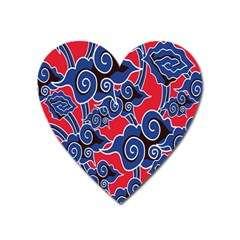 Batik Background Vector Heart Magnet by BangZart