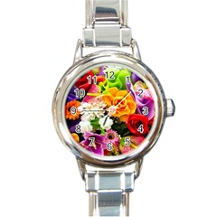Colorful Flowers Round Italian Charm Watch by BangZart