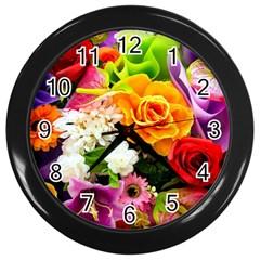 Colorful Flowers Wall Clocks (black) by BangZart