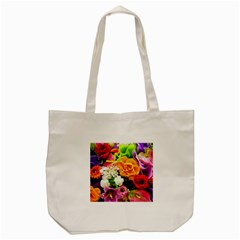 Colorful Flowers Tote Bag (cream) by BangZart