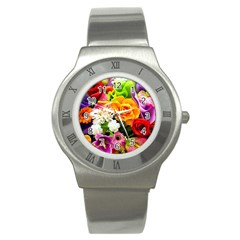 Colorful Flowers Stainless Steel Watch by BangZart