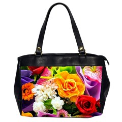 Colorful Flowers Office Handbags (2 Sides)  by BangZart