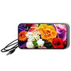 Colorful Flowers Portable Speaker (black) by BangZart