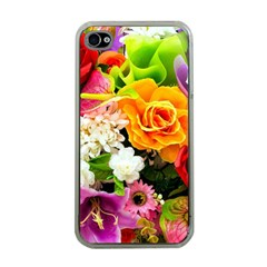 Colorful Flowers Apple Iphone 4 Case (clear) by BangZart