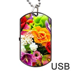 Colorful Flowers Dog Tag Usb Flash (one Side) by BangZart