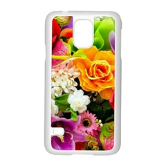 Colorful Flowers Samsung Galaxy S5 Case (white) by BangZart