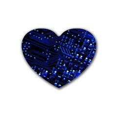 Blue Circuit Technology Image Rubber Coaster (heart)  by BangZart