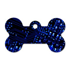 Blue Circuit Technology Image Dog Tag Bone (two Sides) by BangZart