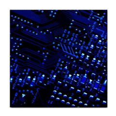 Blue Circuit Technology Image Face Towel by BangZart