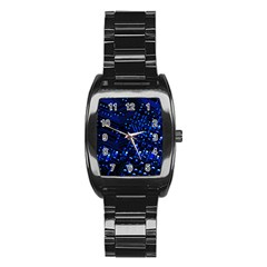 Blue Circuit Technology Image Stainless Steel Barrel Watch by BangZart