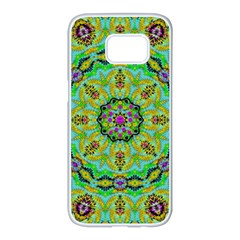Golden Star Mandala In Fantasy Cartoon Style Samsung Galaxy S7 Edge White Seamless Case by pepitasart