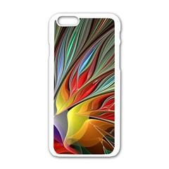 Fractal Bird Of Paradise Apple Iphone 6/6s White Enamel Case by WolfepawFractals