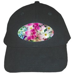 Colorful Flowers Patterns Black Cap by BangZart