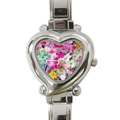Colorful Flowers Patterns Heart Italian Charm Watch by BangZart