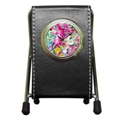 Colorful Flowers Patterns Pen Holder Desk Clocks by BangZart