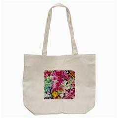 Colorful Flowers Patterns Tote Bag (cream) by BangZart
