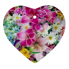 Colorful Flowers Patterns Heart Ornament (two Sides) by BangZart