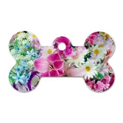 Colorful Flowers Patterns Dog Tag Bone (two Sides) by BangZart