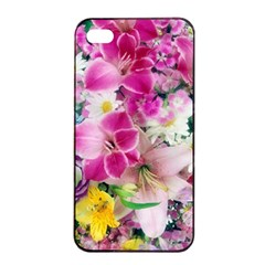 Colorful Flowers Patterns Apple Iphone 4/4s Seamless Case (black) by BangZart