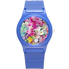 Colorful Flowers Patterns Round Plastic Sport Watch (s) by BangZart