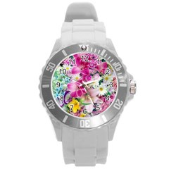 Colorful Flowers Patterns Round Plastic Sport Watch (l) by BangZart