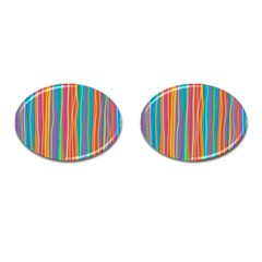 Colorful Striped Background Cufflinks (oval) by TastefulDesigns