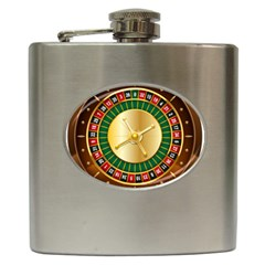 Casino Roulette Clipart Hip Flask (6 Oz) by BangZart